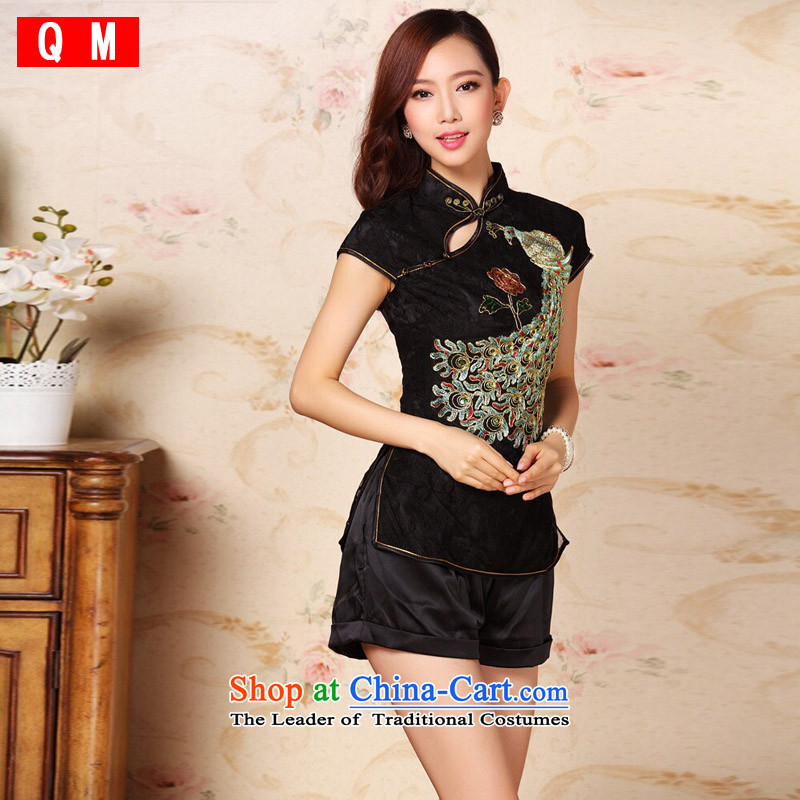 The end of the light _QM_ heavy industry improved Stylish coat embroidered cheongsam national women's China wind load?XWG Tang?Black?M