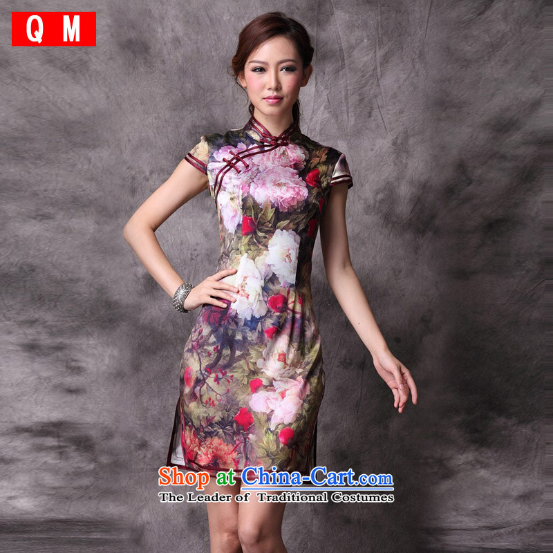 The end of the light (QM) Silk Cheongsam bows service improvement retro?XWG?picture color?XL