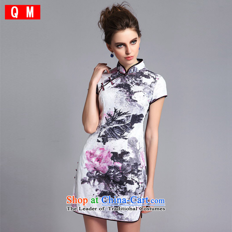 The end of the light (QM) lace Composite aluminum foil on low retro nostalgic's short qipao?XWGQF140211?picture color?XXL