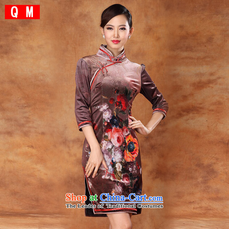 The end of the light (QM) Korea Stamp retro improvement velvet short-sleeved pins with the need of qipao etiquette clothing?XWG?picture color?M