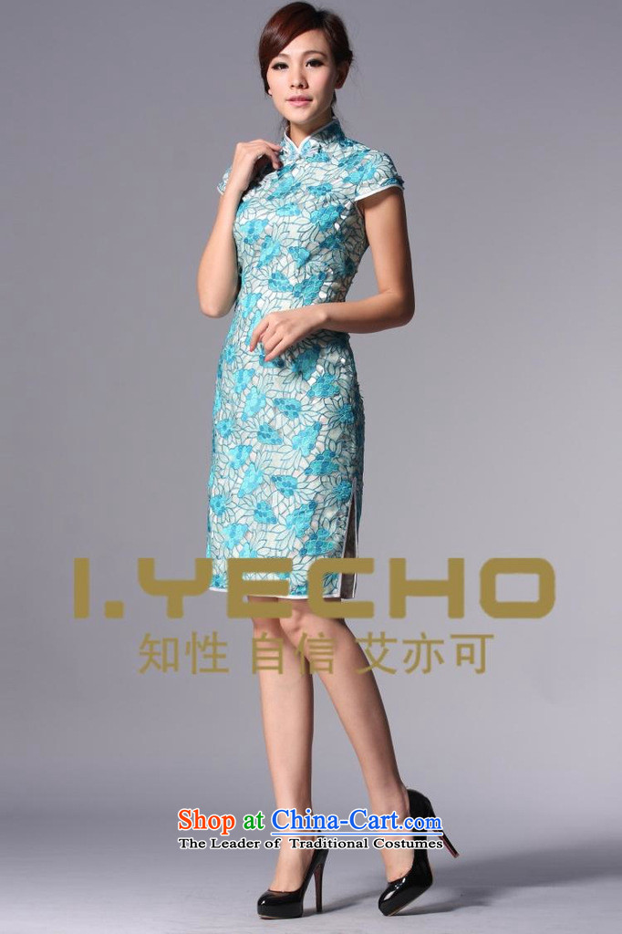 The end of the light (QM) Chinese Antique style qipao improved engraving marriages bows dress XWGQP110-3 Blue M picture, prices, brand platters! The elections are supplied in the national character of distribution, so action, buy now enjoy more preferential! As soon as possible.