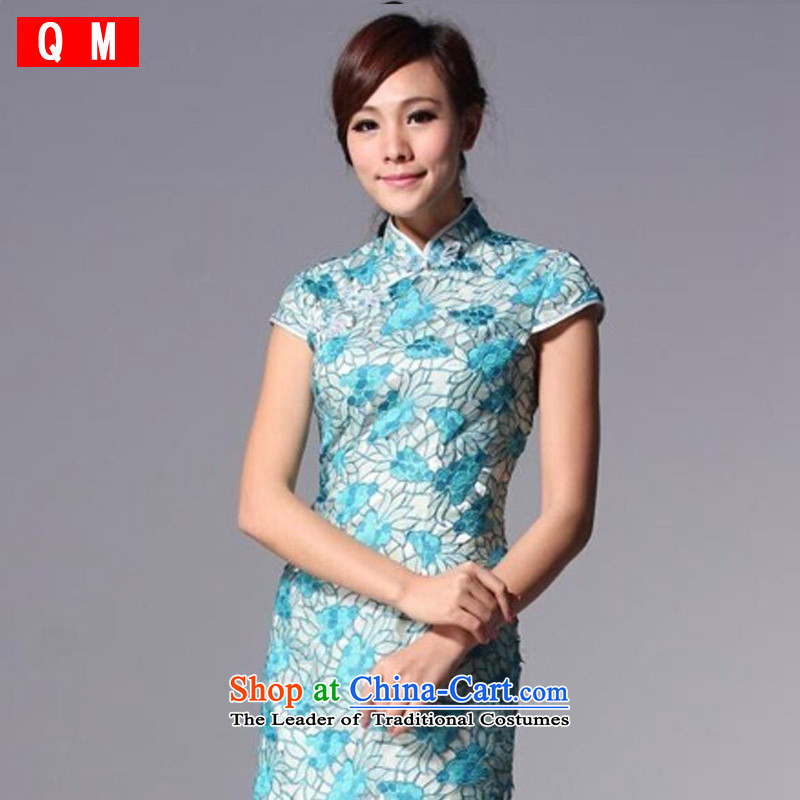The end of the light _QM_ Chinese Antique style qipao improved engraving marriages bows dress XWGQP110-3 Blue M