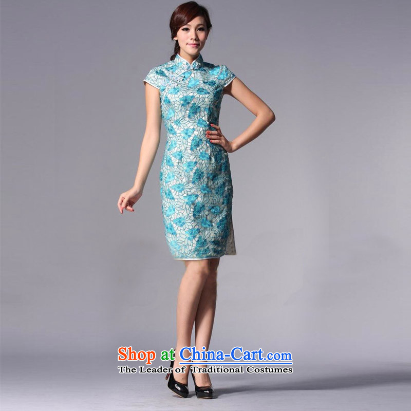 The end of the light (QM) Chinese Antique style qipao improved engraving bows dressXWGQP110-3 marriagesbluelight at the end of M , , , shopping on the Internet