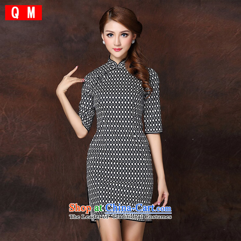 The end of the light _QM_ national air improvement in short-sleeved Stylish retro qipao? XWGQF141005?picture color?L