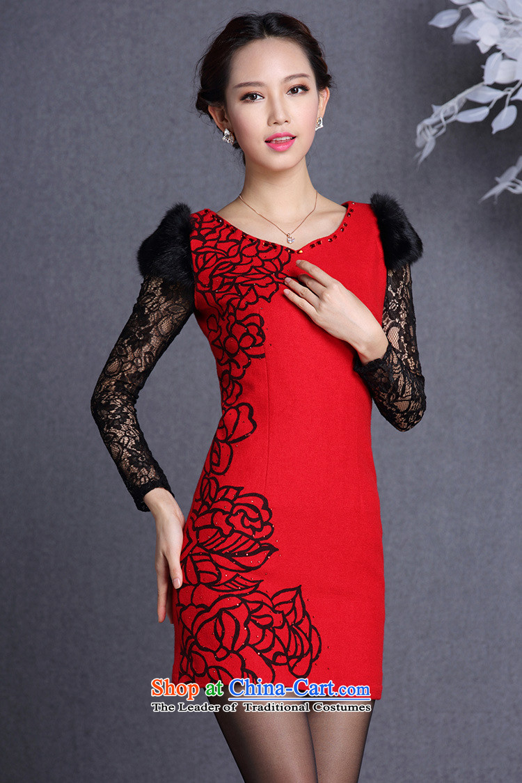 The end of the light (QM) rabbit hair stylish cuff gross body? Short qipao XWG RED M picture, prices, brand platters! The elections are supplied in the national character of distribution, so action, buy now enjoy more preferential! As soon as possible.