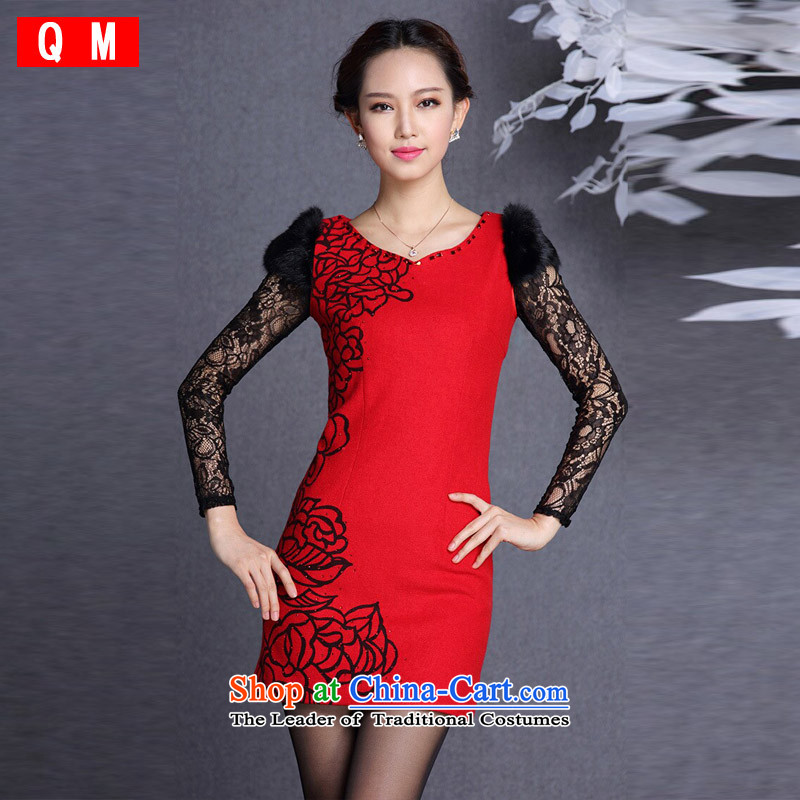 The end of the light _QM_ rabbit hair stylish cuff gross body? Short qipao XWG RED M