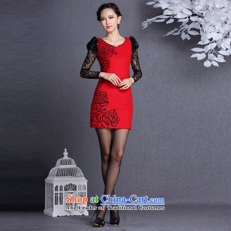 The end of the light (QM) rabbit hair stylish cuff gross body? Short qipao XWG red light at the end of M , , , shopping on the Internet