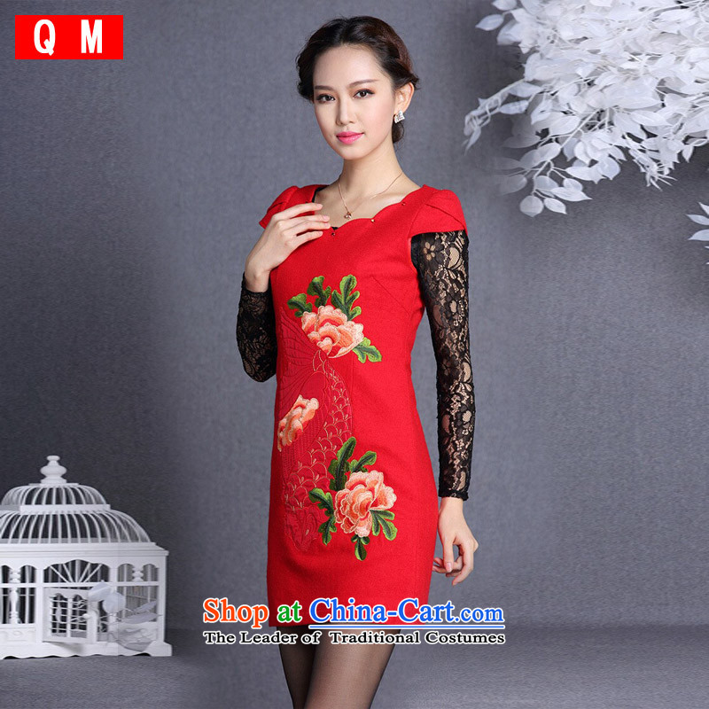 The end of the light (QM) Improved stylish embroidered short qipao XWGQF13054 gross? L