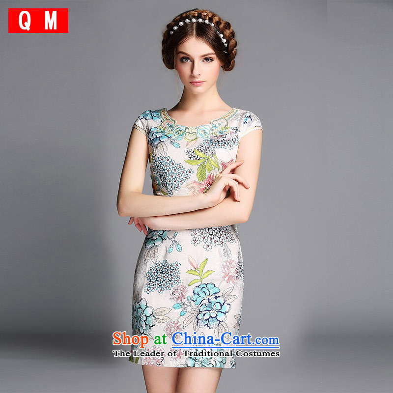 The end of the light (QM) Improved stylish round-neck collar embroidered on short qipao�XWGQF140602's�picture color�XL