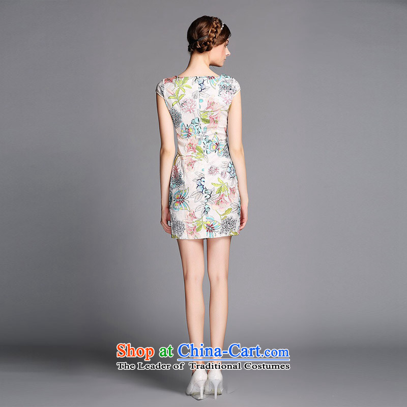 The end of the light (QM) Improved stylish round-neck collar embroidered on short qipao聽XWGQF140602's聽picture color聽light at the end of XL, , , , shopping on the Internet