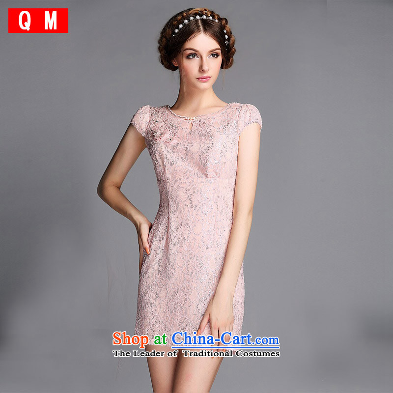 The end of the light _QM_ Improved stylish round-neck collar set pearl lace engraving on short qipao XWGQF140605's picture color M