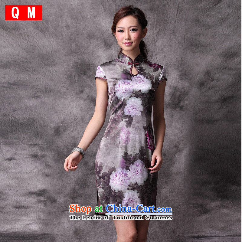 The end of the light (QM) retro Silk Cheongsam improved stylish summer qipao skirt bows services?XWG marriage?picture color?XXL