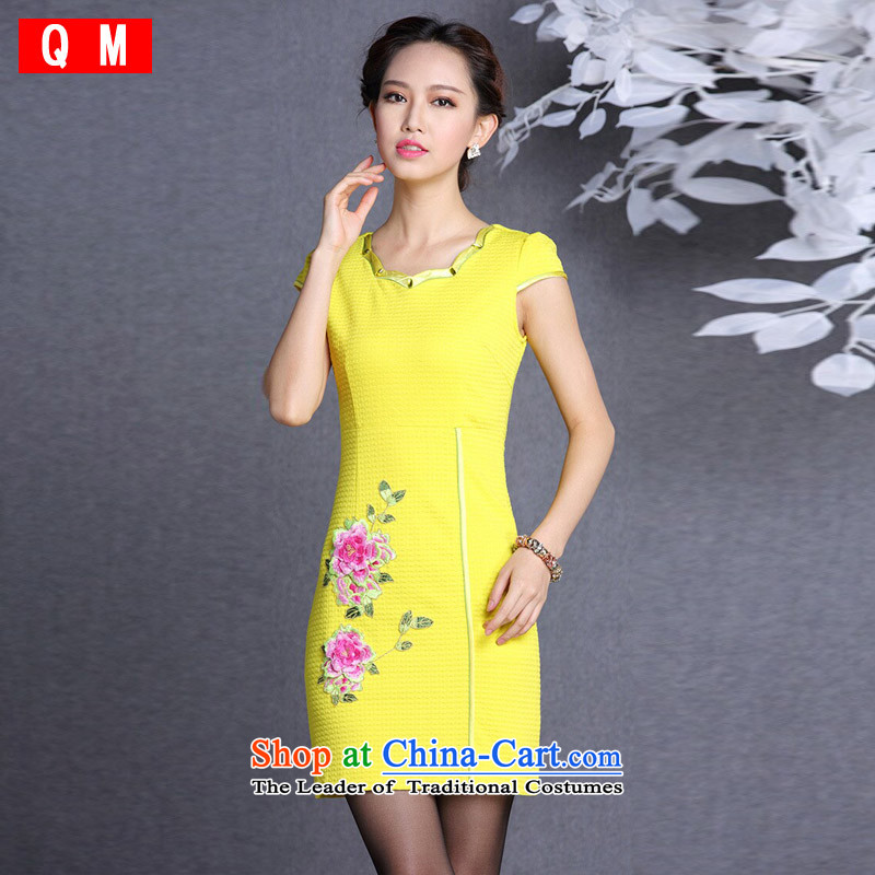 The end of the light _QM_ Improved stylish embroidered short, simple cheongsam dress female XWGQF826-1 picture color XL