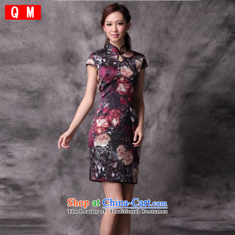 The end of the light _QM_ Silk Cheongsam summer short improved Stylish retro CHINESE CHEONGSAM聽XWG_聽picture color聽M