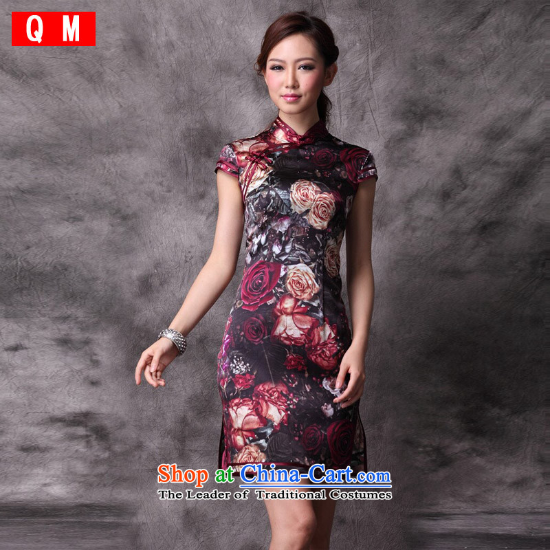 The end of the light _QM_ Stylish retro improved heavyweight silk cheongsam dress summer聽XWG Chinese聽picture color聽L