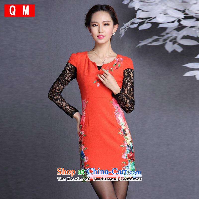 The end of the light _QM_ Improved stylish embroidered short qipao  XWG gross? QF818 RED S
