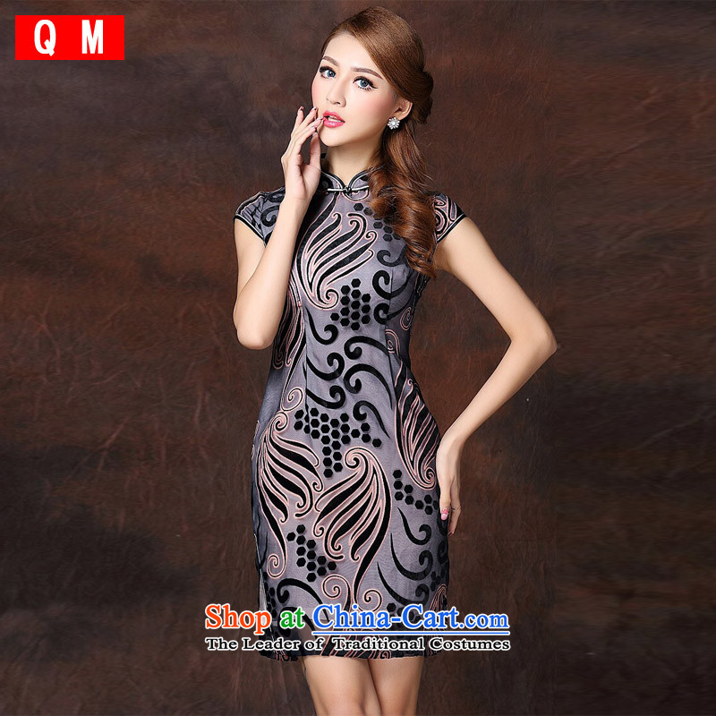 The end of the light (QM) improved low power's Stylish retro-day short qipao�XWGQF141018 Ms.�Light Gray�XL