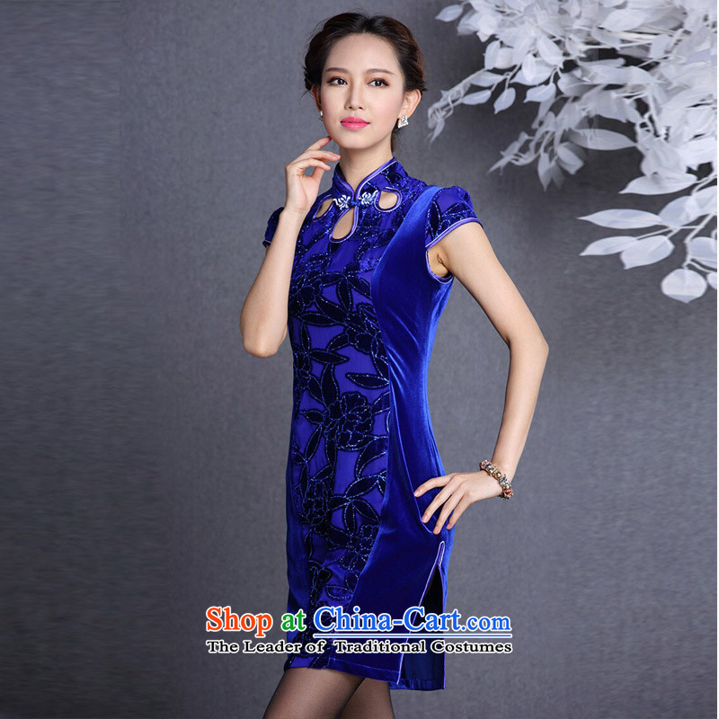 The end of the light (QM) Stylish retro wool stitching improved short-sleeved short qipao XWGQF1309-12 picture color light at the end of XL, , , , shopping on the Internet