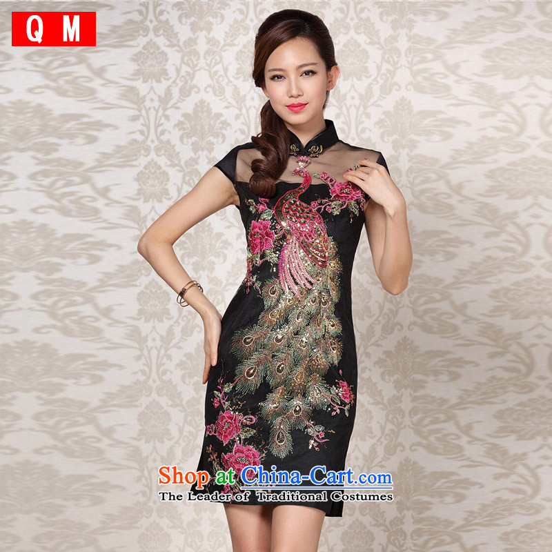 The end of the light (QM) Improved Stylish retro gauze embroidery cheongsam?XWGQF13-6089?picture color?M