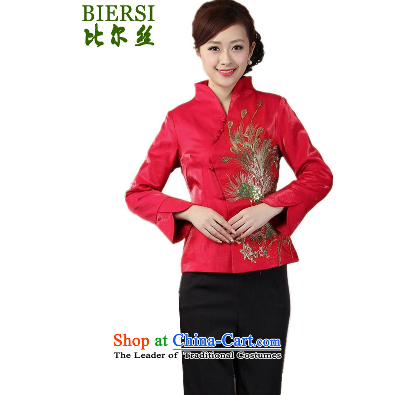 The Bill approved new stylish spring female Tang blouses collar is traversed by the peacock flower Sau San young mother boxed Tang jackets figure燲L