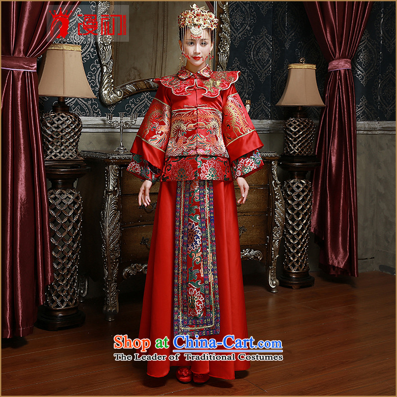 In the early 2015 New Man Soo Wo Service marriages bows service long red happy qipao kit red�S code