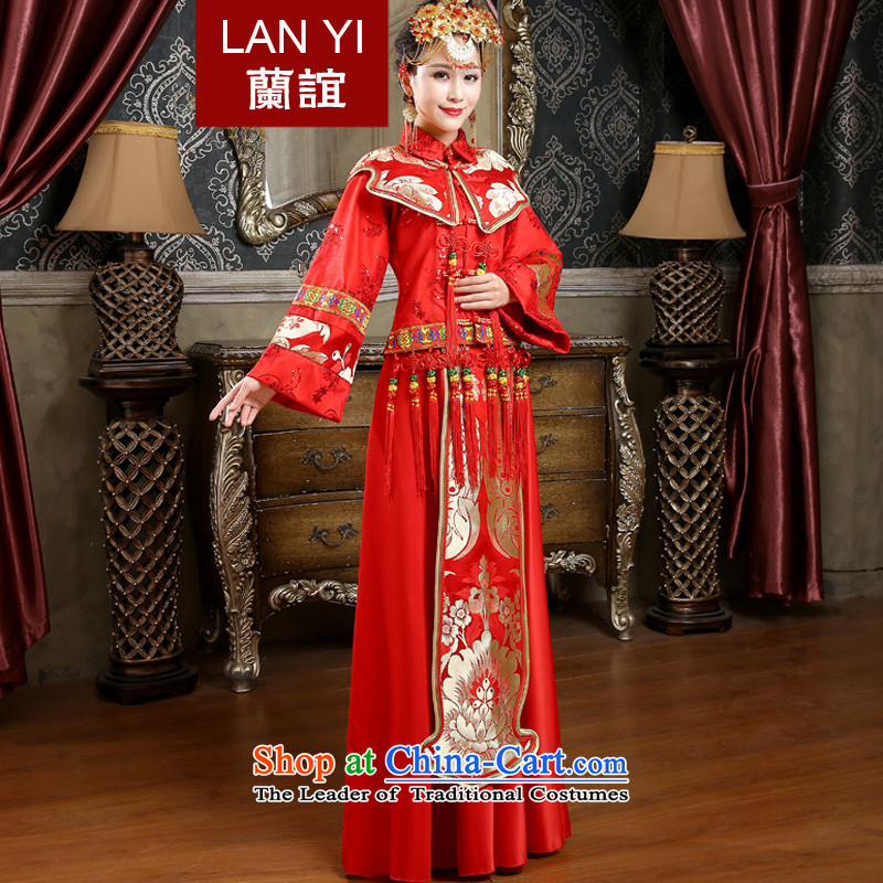 In 2015 winter long-sleeved new friends of qipao skirt for winter marriages bows dress the cotton waffle long-soo Wo Service Code Red M 2 feet waist
