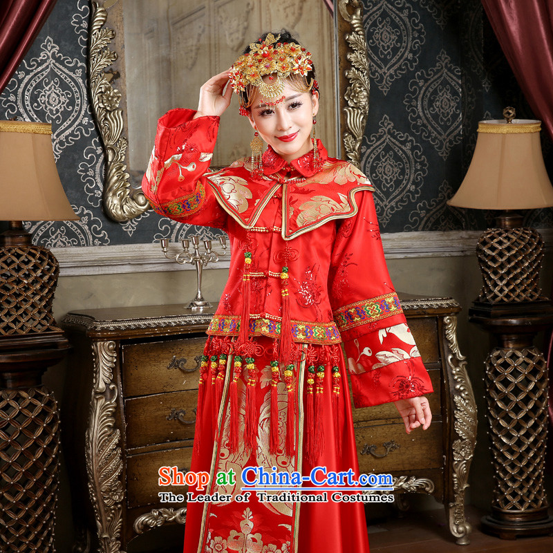 In 2015 winter long-sleeved new friends of qipao skirt for winter marriages bows dress the cotton waffle long-soo Wo Service Code Red M 2 feet of the waist-yi (LANYI) , , , shopping on the Internet