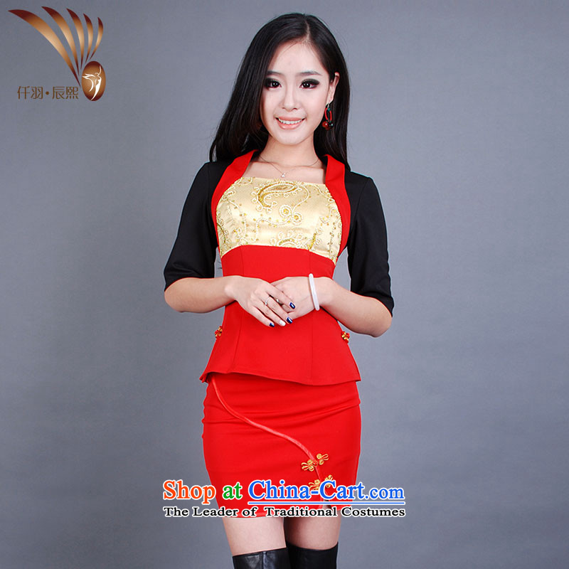 Sophie Yu Chenxi 2014 new autumn and winter female Tang dynasty qipao pedicure female technicians working dress up and down of the beauticians split?GT00464?RED?XXXL Kit