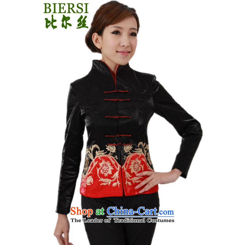 The Bill was the spring new stylish women Chinese shirt collar Sau San Tong embroidered jacket -A black M