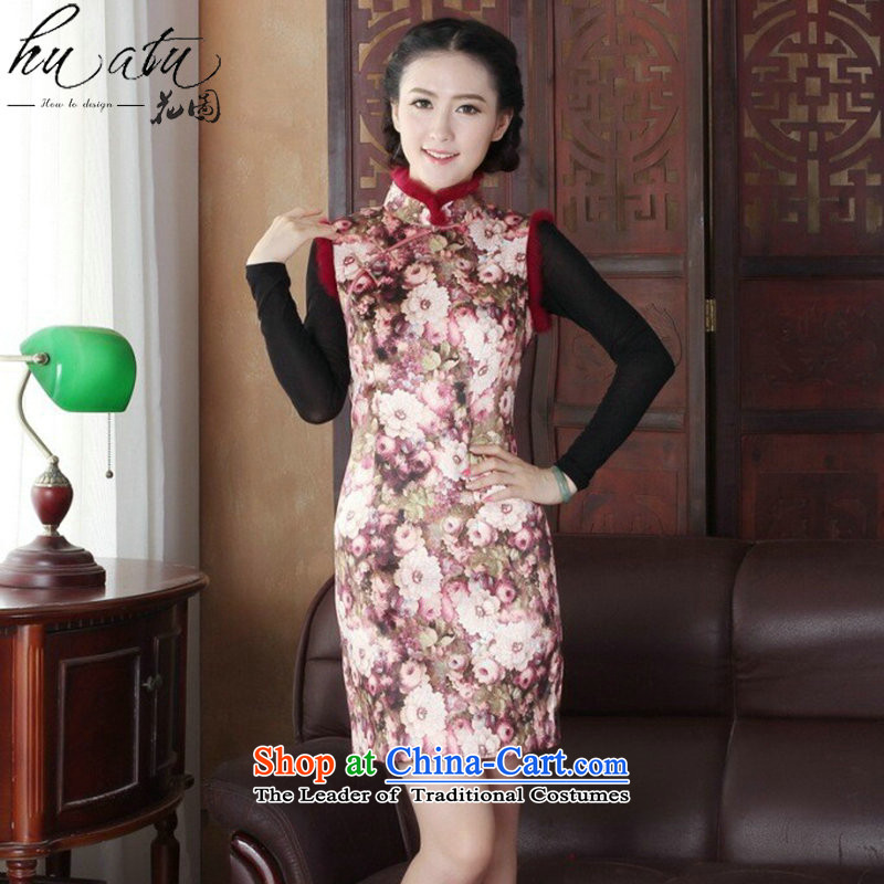 Floral qipao Tang dynasty women winter clothing clip cotton collar improved Stylish retro really rabbit hair collar cheongsam dress 3XL 3126
