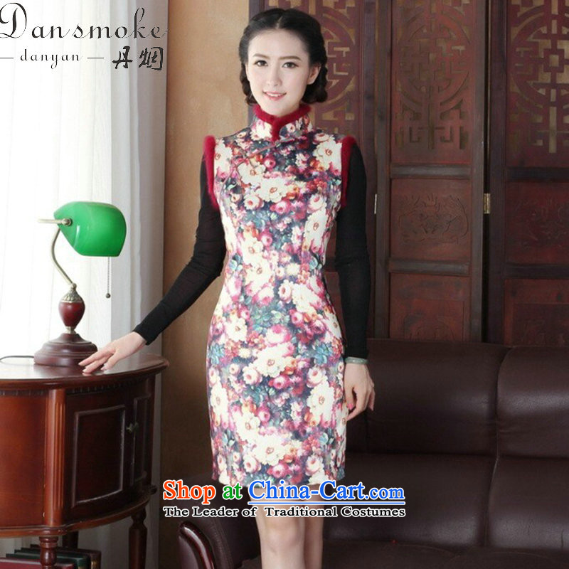 Dan smoke cheongsam dress Tang dynasty winter clothing clip cotton collar improved Stylish retro really rabbit hair collar cheongsam dress�3XL 2019