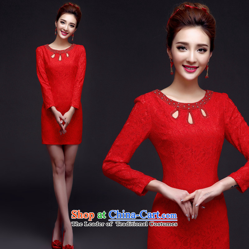 The privilege of serving-leung 2015 new red short_ Bride wedding dress bows service improvement and Stylish retro qipao long-sleeved_燬