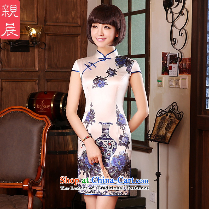 The pro-am for summer 2015 new retro short, upscale herbs extract porcelain silk cheongsam dress Sau San dresses porcelain 2XL- 83cm waist