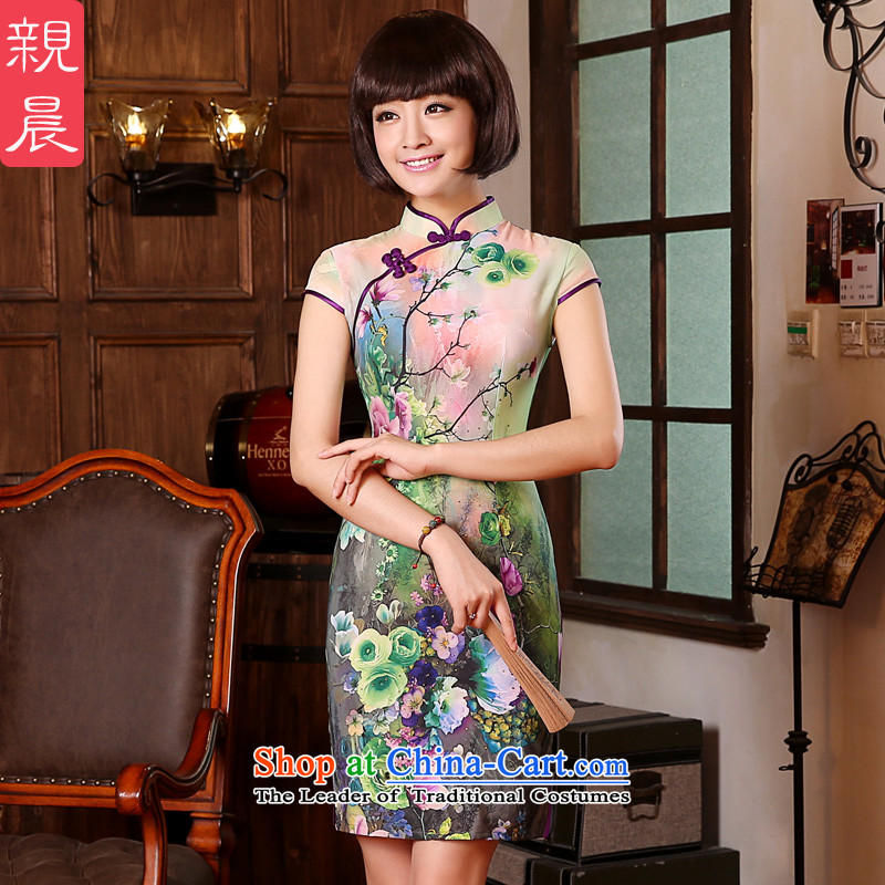 【 pro-am- 2015 New Natural Silk herbs extract short of one-to-day qipao retro Sau San dresses short-sleeved 2XL- waist 77cm Hold