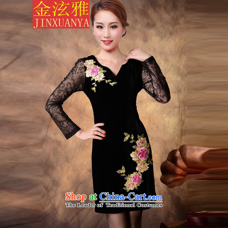 Kim Hyun in the autumn of 2015 on Nga embroidery high-end Kim velvet cheongsam dress women's long-sleeved black long-sleeved燲XL