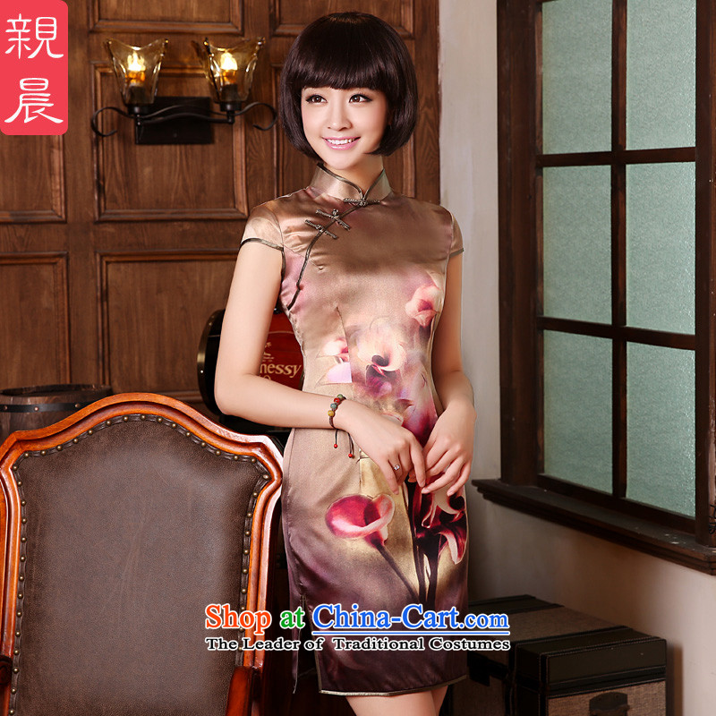 The elections as soon as possible the new 2015 pro-am, daily herbs extract natural silk summer short of Sau San qipao retro dresses short-sleeved聽2XL