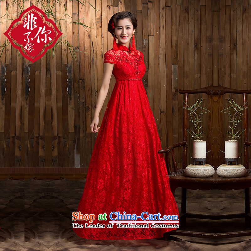 2015 new marriage qipao retro Top Loin of pregnant women for larger chinese red color bows service long winter jackets red bride?L