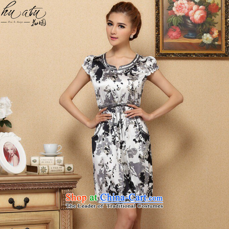 Spend the summer of female figure graphics thin dresses elegant Silk Cheongsam improvements sauna short-sleeved Silk Dresses Figure Color�M