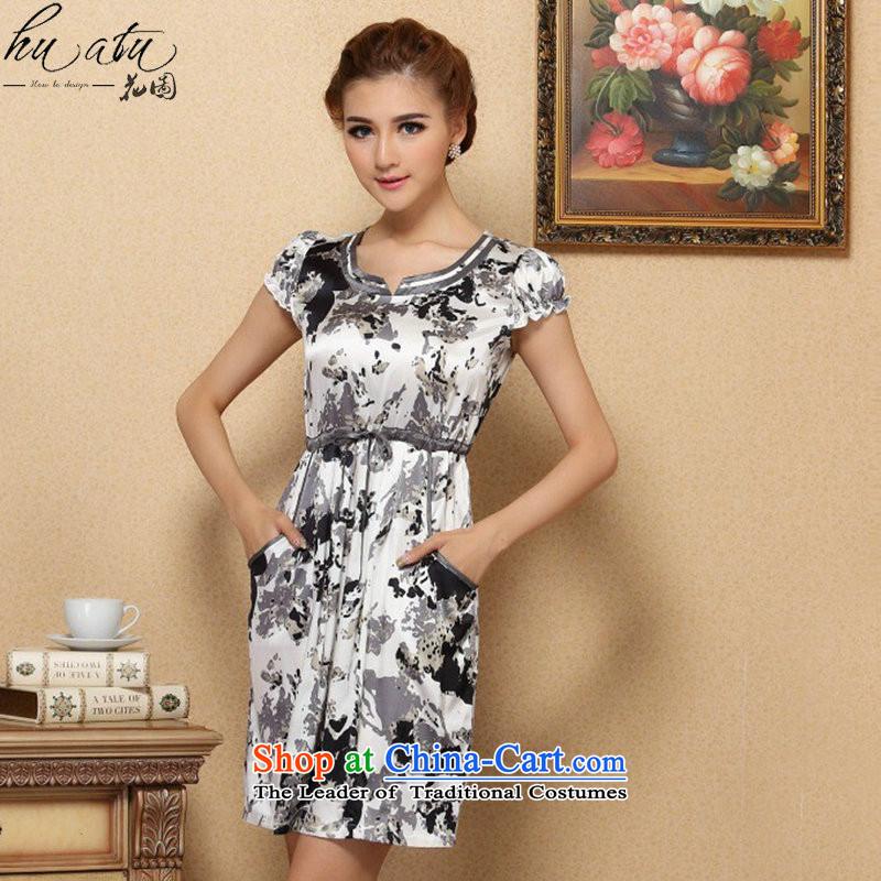 Spend the summer of female figure graphics thin dresses elegant Silk Cheongsam improvements sauna short-sleeved silk dresses like a聽mosaic map color M , , , shopping on the Internet