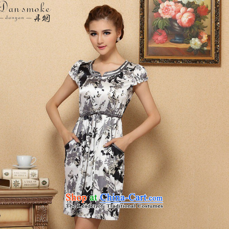 Dan Xia, women smoke graphics thin dresses elegant Silk Cheongsam improvements sauna short-sleeved Silk Dresses Figure Color XL