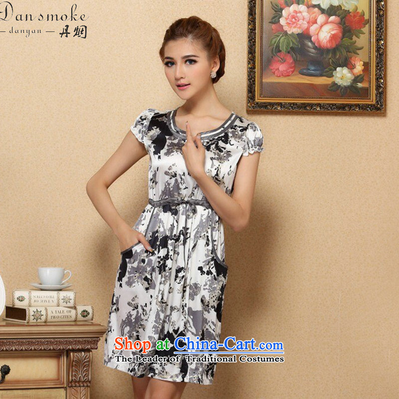 Dan Xia, women smoke graphics thin dresses elegant Silk Cheongsam improvements sauna short-sleeved Silk Dresses Figure Color聽XL, Dan Smoke , , , shopping on the Internet