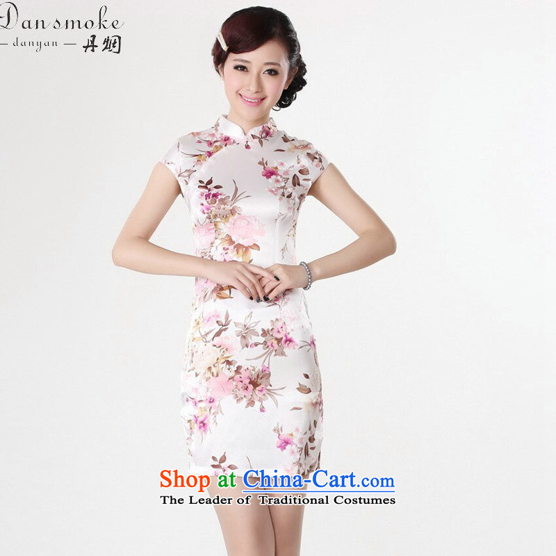 Dan smoke Tang dynasty women's summer new women's Chinese qipao gown ramp improved collar silk Tang dynasty retro short qipao White?M