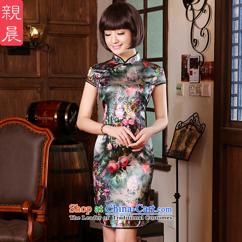 The pro-am 2015 Summer herbs extract new upscale silk short, Sepia improved stylish Sau San qipao skirt dresses short-sleeved聽2XL