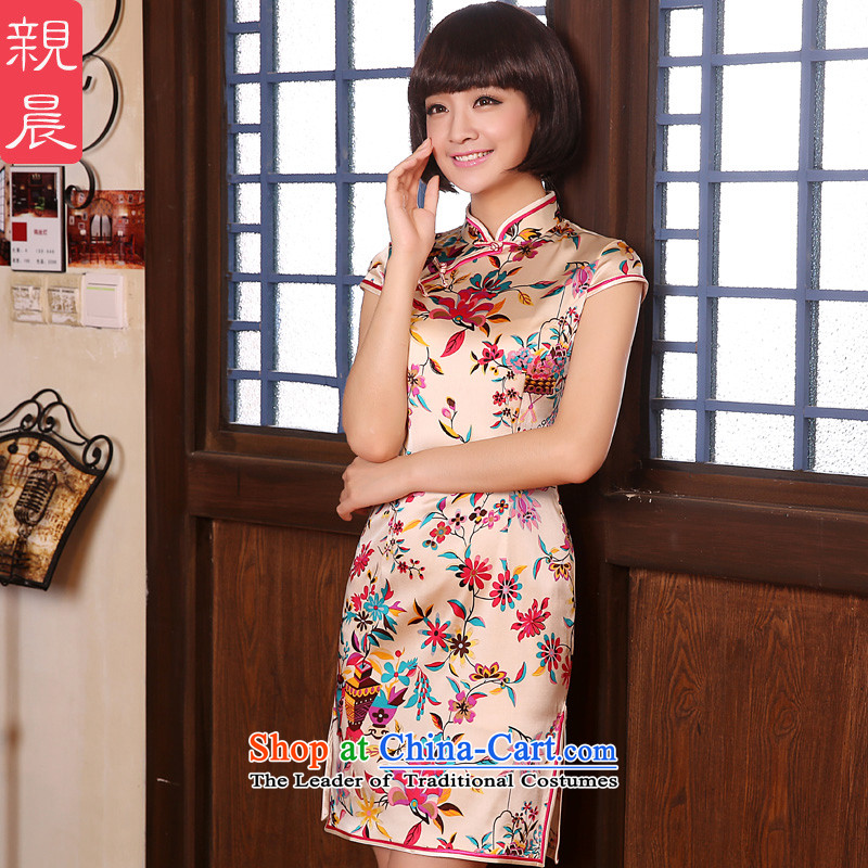 �� pro-am- 2015 new shortage of day-to-day summer herbs extract natural silk retro Sau San cheongsam dress short-sleeved?2XL- waist 83cm-15 day shipping