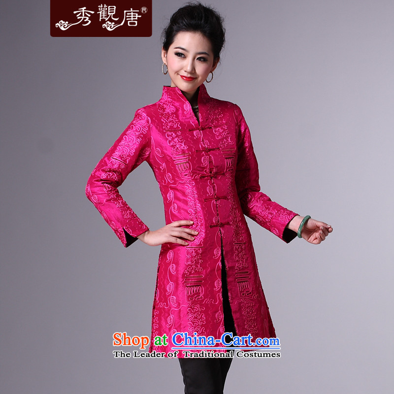 Sau Kwun Tong elegant woman, Ms. Tang Dynasty Fall_Winter Collections Of Chinese elderly mother blouses wind jacket new better RED聽M