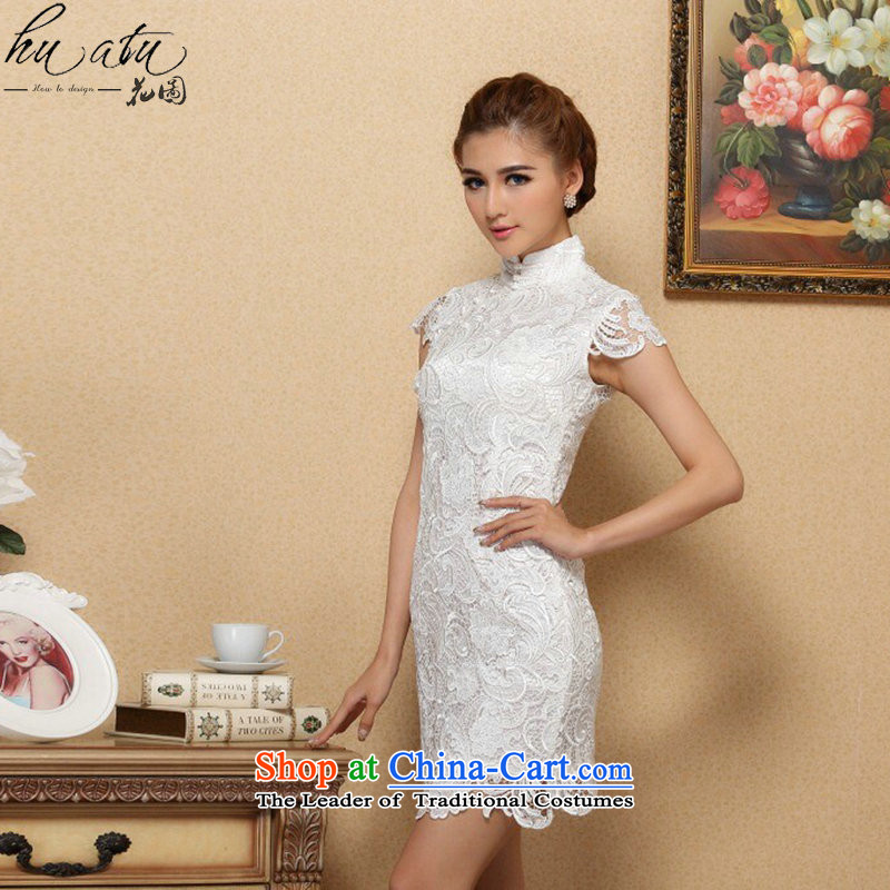 Floral spring and summer cheongsam dress Chinese territorial waters of soluble lace qipao gown qipao retro bows short White�XL