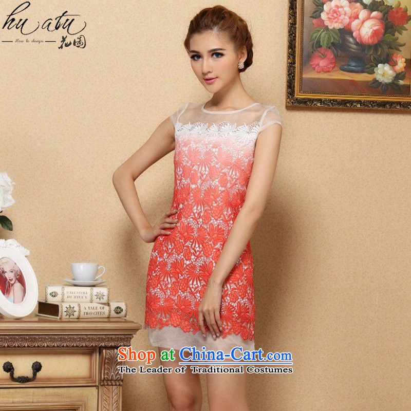 The spring and summer of 2015, smoke dan cheongsam dress stylish classic improved Silk Cheongsam OSCE root yarn water-soluble cheongsam dress gradient round-neck collar L
