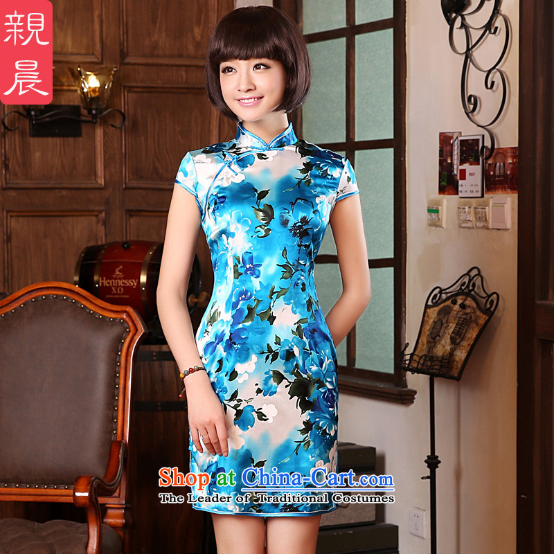 The pro-am 2015 Spring Summer short of herbs extract routine upscale silk retro Sau San cheongsam dress short-sleeved 2XL- 83cm waist