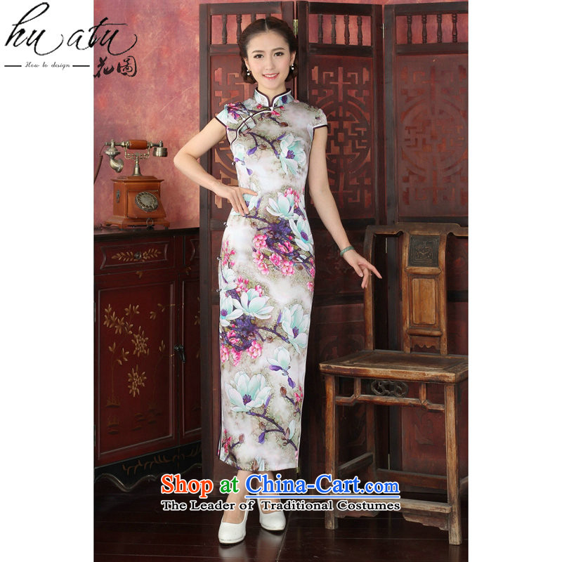 Take the聽new 2015 figure female Silk Cheongsam Chinese herbs extract collar tulip elegant qipao gown聽1027_ banquet long M