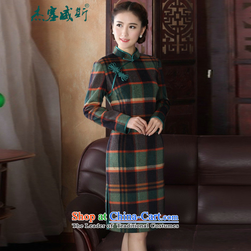 In the new kit for women with elegant latticed manually from the spring and autumn tray clip Sau San collar long-sleeved gross? qipao�XXL